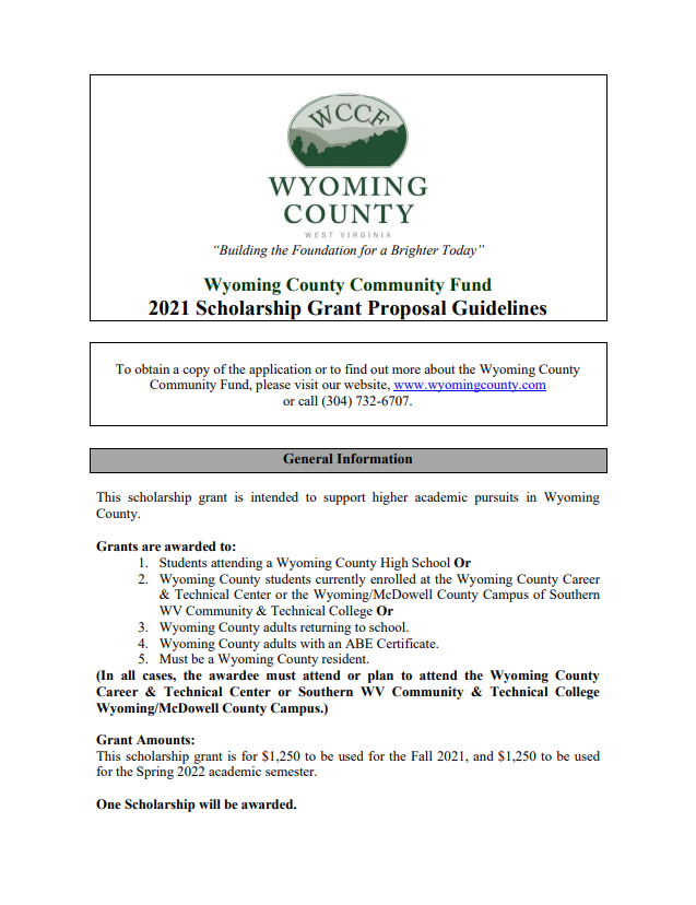 Wvu Academic Calendar Spring 2022.Submit Your Application For The Annual Wccf Scholarship Wyoming County Eda